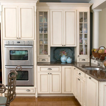 Cream glazed kitchen cabinets cabinet make over gel stain pinterest ovens the o 39 jays - How to glaze kitchen cabinets cream ...