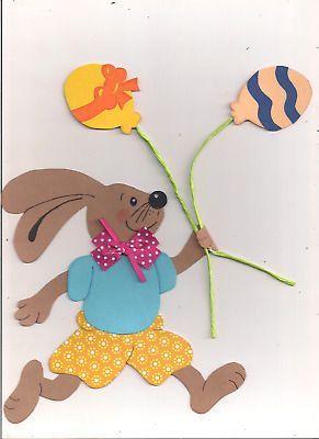 "Fensterbild ""Osterhase mit Eierballons"", Tonkarton – Österliches Basteln – Colo…"