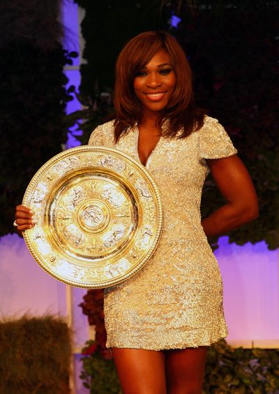 Serena Williams; could she be anymore gorgeous in the gold?!? Oh my goodness. She is stunning!
