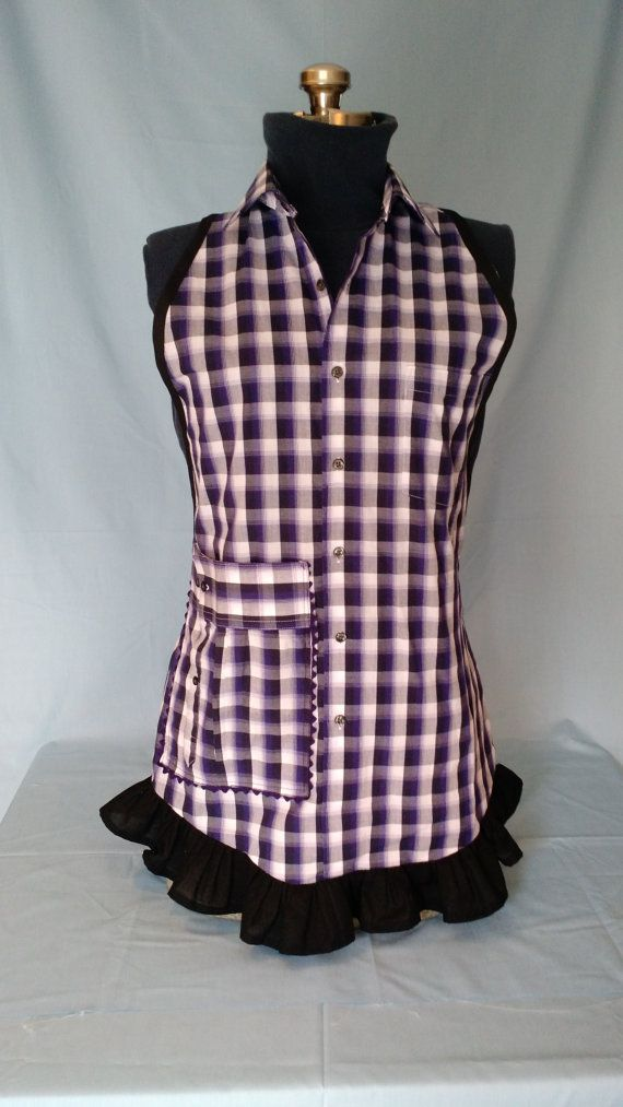 Apron from re-purposed mans shirt by hollyhocksandbrooms on Etsy