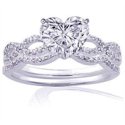 085 ct heart shaped diamond intertwined engagement wedding rings pave set si1 - Heart Shaped Diamond Wedding Ring