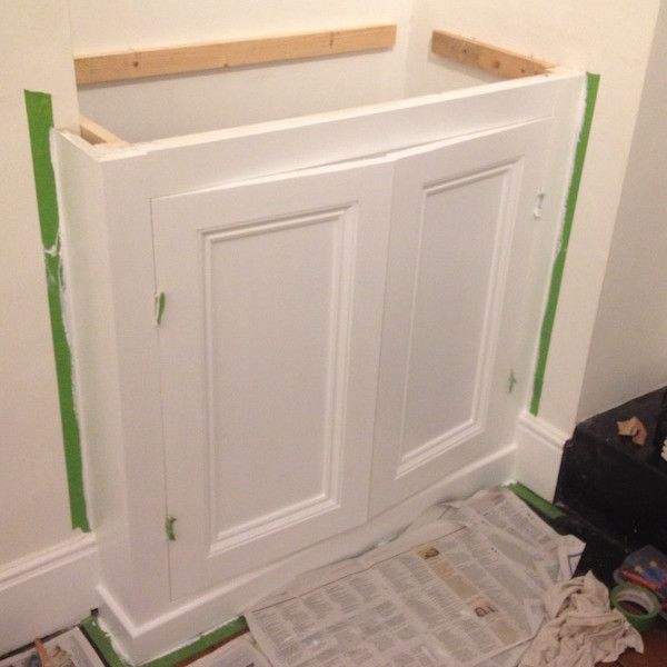 Lovely DIY Alcove Cupboard First Coat Of Paint