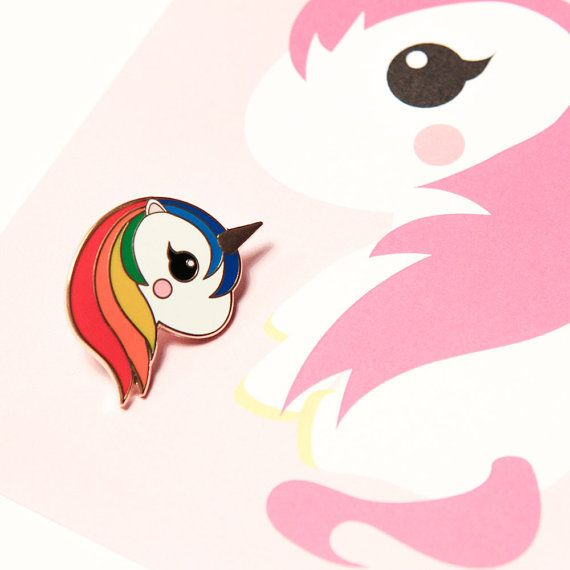 Rainbow unicorn hard enamel Kawaii pin van StudioInktvis op Etsy