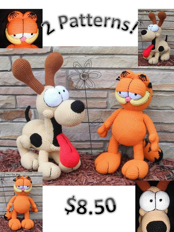 Garfield and Odie 2 Crochet Patterns by Erin by ErinScullsToyStore
