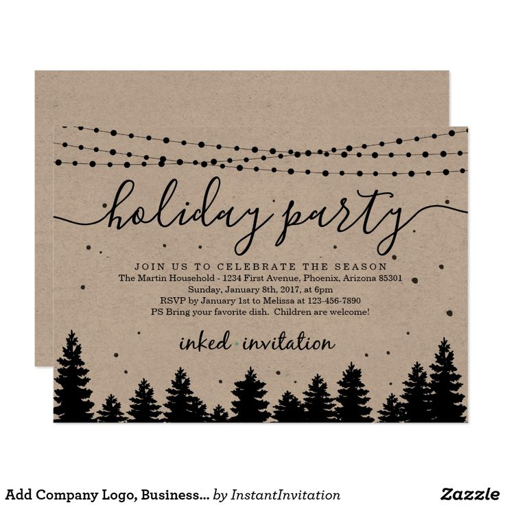 business party invitation letter templates%0A Add Company Logo  Business Christmas Holiday Party Card