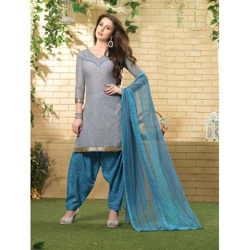Avanya White South Cotton Patiyala Dress Material With Matching Dupatta