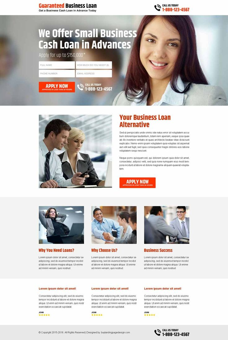 small business cash loan advance responsive landing page