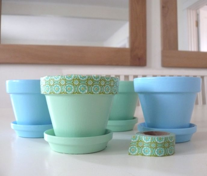 Pastel Chalk Paint Pots with Washi Tape