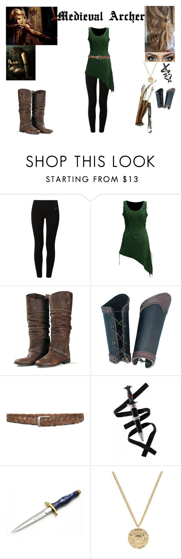 """""""Medieval Archer"""" by glader-girl12 ❤ liked on Polyvore featuring NIKE, Golden Goose, Black & Brown London, Holster and Kenneth Jay Lane"""