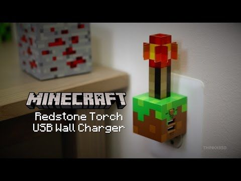 minecraft redstone torch usb wall charger thinkgeek aesthetic lighting minecraft indoors torches