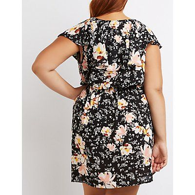 Floral Ruffle Surplice Dress