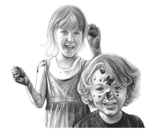 child portrait in pencil, brother and sister drawing