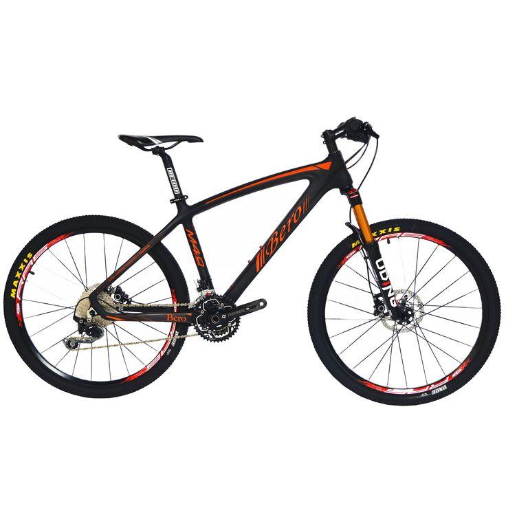 BEIOU Carbon Fiber Mountain Bike Hardtail MTB 10.65 kg SHIMANO M610 DEORE 30 Speed Ultralight Frame RT 26 Professional Internal Cable Routing Toray T800 Carbon Hubs Matte CB024C (Orange, 21-Inch)
