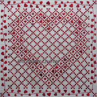 Red &  White Hearts Quilt by llene Atkins