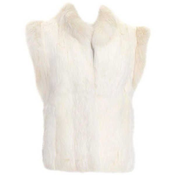 Preowned Vintage Ivory White Rabbit Fur Vest Satin Lining 1980s ($325) ❤ liked on Polyvore featuring outerwear, vests, white, fur waistcoat, white winter vest, long white vest, fur vest and vintage fur vest