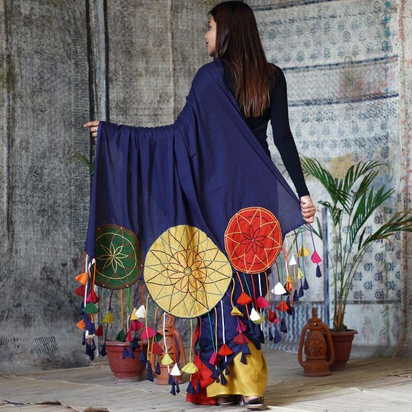 Indigo with Multi Coloured Dream Catcher Embroidered Cotton Saree with Tassels - Rustorange