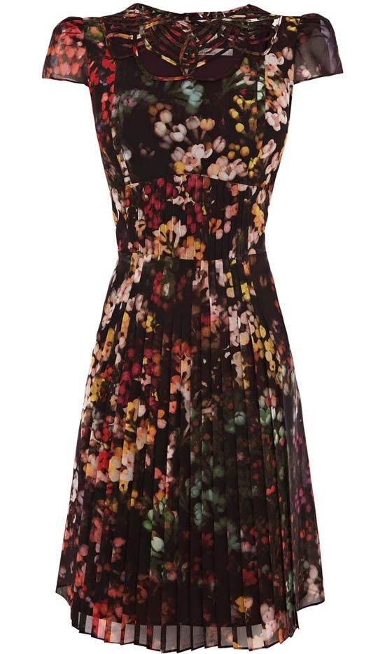 Dark florals - lovely fall dress with dark tights and boots!