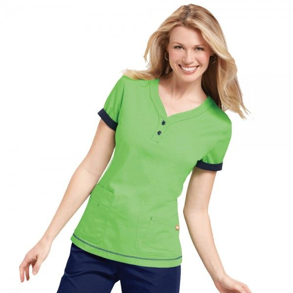 Orange Standard Monterey Top in Appletini. The Monterey Scrub Top is a must have with its durable and easycare fabric. The Monterey Scrub Top caters for all as it is available in petite and plus sizes.This scrub top has side slits, a henley neckline with contrasting buttons and top stitching. When you roll up your sleeves a contrasting colour is revealed, adding a touch of extra detail. £19.99  #nursescrubs #dentistuniform #nurses #dentists #greenscrubs