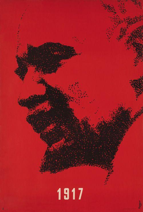 Designer: Fangor Wojciech.  Title: 1917/Lenin. Year of poster: 1957   Political poster.