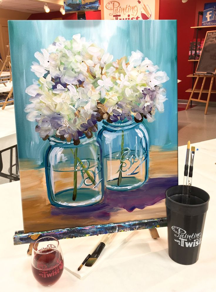 "Let #love bloom with ""Happy Hydrangeas."" Find this event: https://www.paintingwithatwist.com/paintings/happy-hydrangeas-5950/"