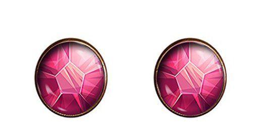 Steven-Universe-earrings-12mm-Pink-Gem-Cartoon-Cosplay-jewelry-gift-charm
