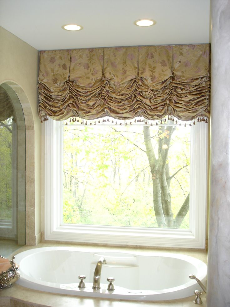 102 best images about window treatments on pinterest for Bathroom window curtains