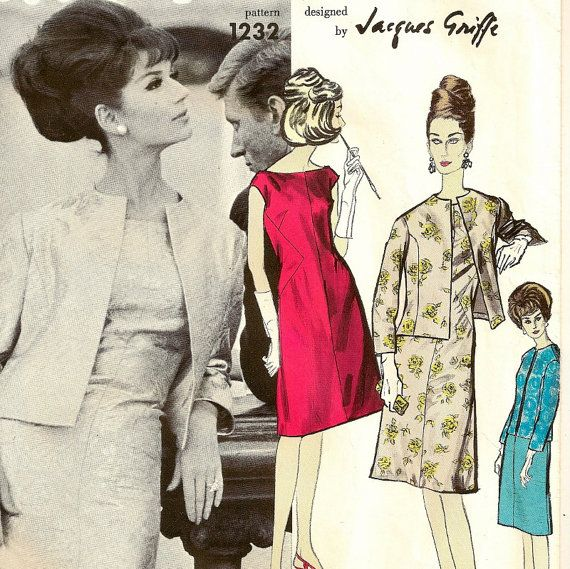 A Jacques Griffe Classic Sleeveless Dress with Oval Neckline and Fitted, Collarless Jacket Pattern, Vintage 1964