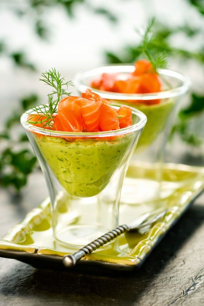 Avocado Dill Mousse & Smoked Salmon Verrine (omit dairy from avocado mix and substitute mayo and/or coconut cream. For coconut cream, chill canned coconut milk overnight and use only the solid portion)