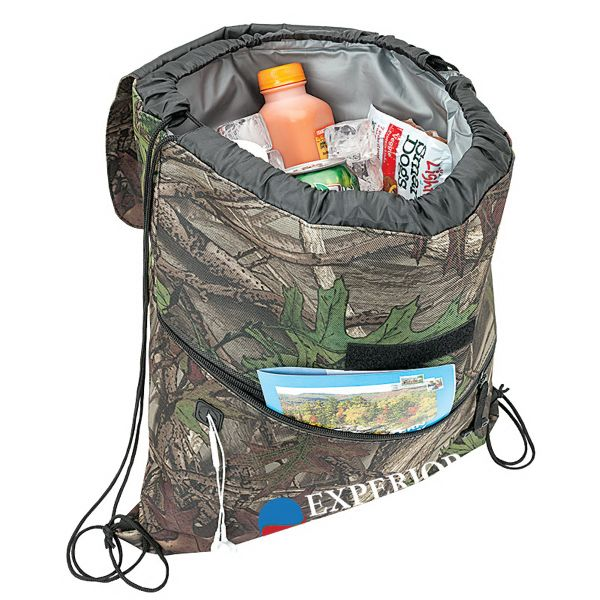 insulated drawstring backpack cooler with camouflage exterior - Backpack Coolers