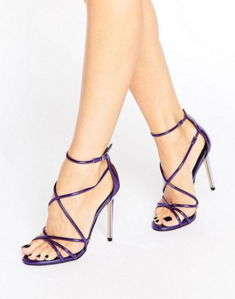 Office Spindle Purple Mirror Strappy Heeled Sandals, $128, ASOS #strappysandalsheels