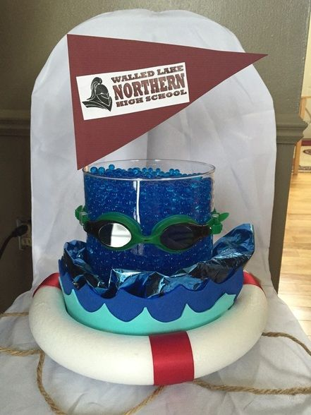 Swim Team Centerpiece (I like the foil and the waves)