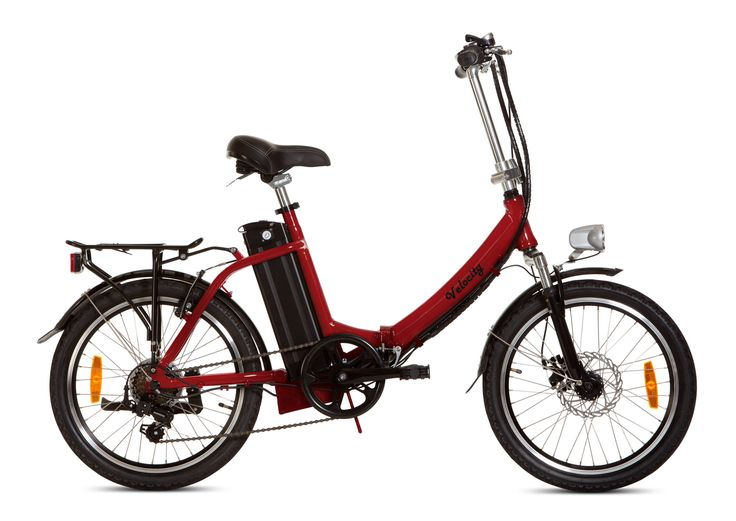 Velocity Stowaway folding eBike. electric bike with 15.6A/hr Samsung Lithium Ion battery, Shimano gears, Tektro front disc brakes, aluminium frame, front and rear lights, mudguards, carrier