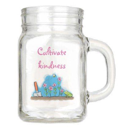 Cute garden cartoon with bee and frog design mason jar - personalize gift idea diy or cyo
