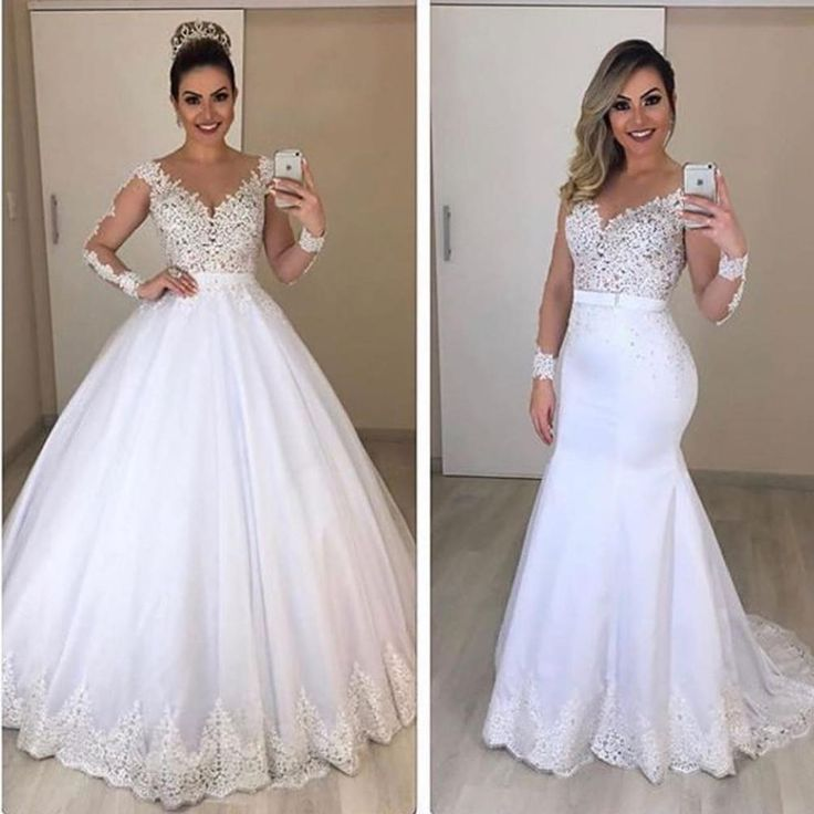 Removable wedding ceremony costume 2020 deep v neck lengthy sleeve lace appliques mermaid bridal dreses ball robe night clothes bridal robes