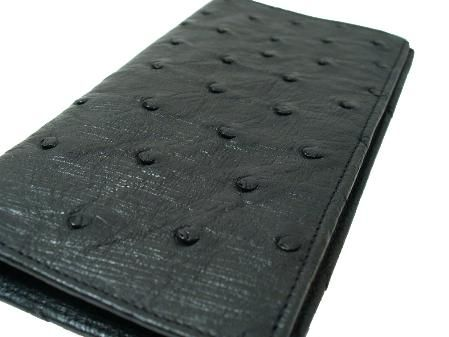 This check book ostrich wallet is made with the finest South African ostrich wallet.
