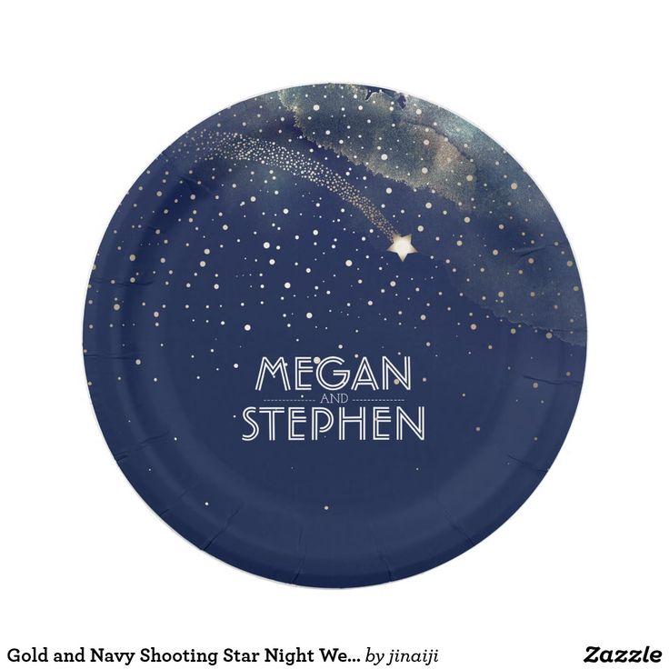 Gold and Navy Shooting Star Night Wedding Paper Plate Gold and navy wedding paper plates with shooting star and starry night