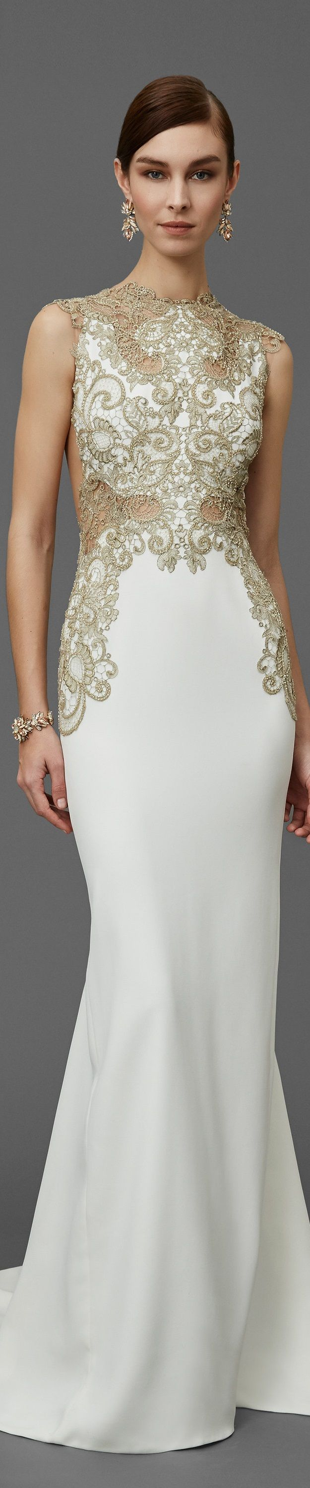 Marchesa Pre Fall 2016 white maxi dress women fashion outfit clothing style apparel @roressclothes closet ideas