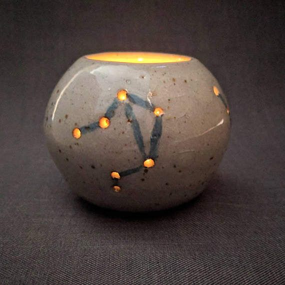 Ceramic Constellation Lantern / Blue and Gray Tealight Candle Holder / Pottery Candlelight Luminary Diffuser / Homemade Centerpiece Idea by ClayAndLacePottery