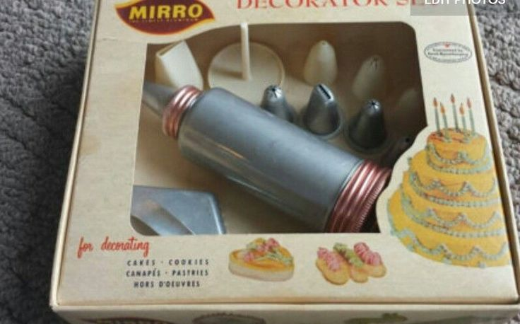 Vintage Collectible Mirror Aluminum Company Cookie Cutters Decorator Cake With Tips Set There are 10 tips, 6 metal 4 plastic tips 5 metal cookie cutters in original box No dents to body or tips PayPal Only | eBay!