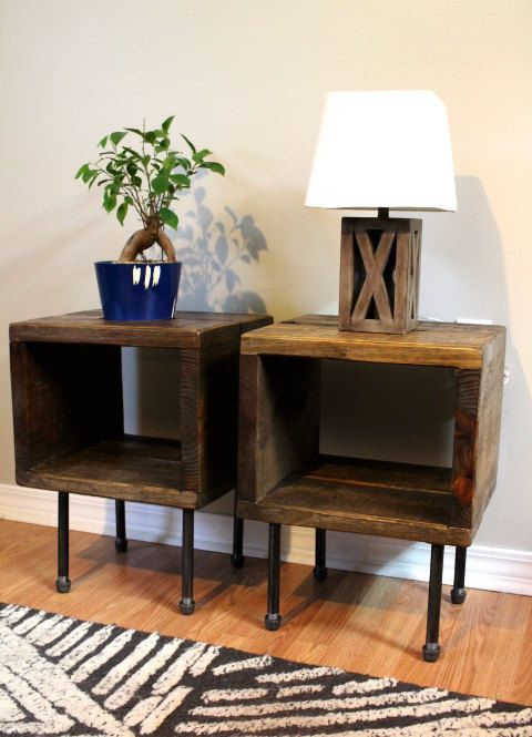 Pair of end tables side table nightstand plant by ReclaimedWoodUSA