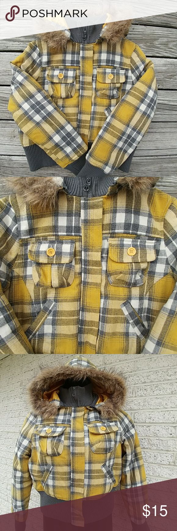 Yellow & Gray Plaid Hooded Bomber Jacket Jacket is in good preowned condition. It's accented with a detachable hood, two chest button pockets and two front hand pockets. Measurements are 44 inches bust and 20 inches in length. If you have any questions, please don't hesitate to contact me. Thanks! Jou Jou Jackets & Coats