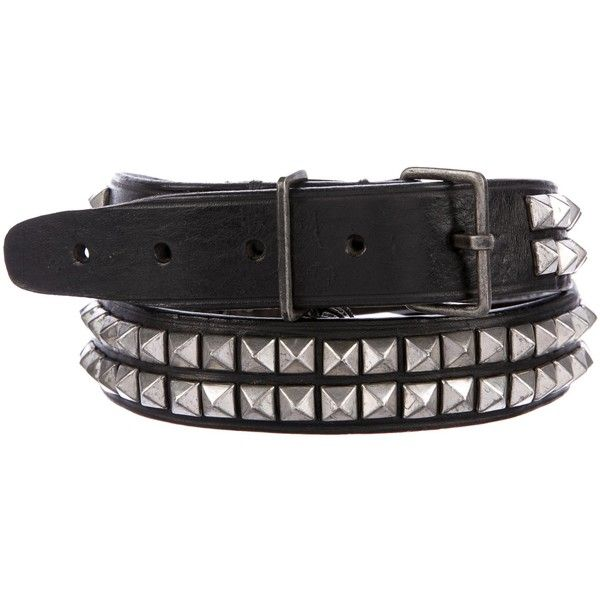 Pre-owned Dsquared? Studded Leather Belt ($145) ❤ liked on Polyvore featuring accessories, belts, black, dsquared2 belt, leather belts, 100 leather belt, genuine leather studded belt and real leather belts