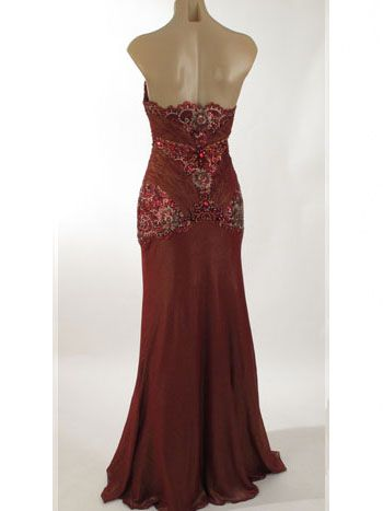 Old Hollywood Glamour Dresses | Strapless Beaded Burgundy Old Hollywood Glamour Evening Dress