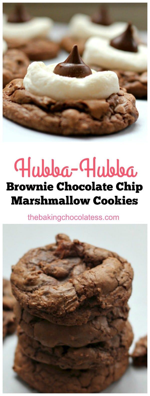 Hubba-Hubba' Brownie Chocolate Chip Marshmallow Cookies via @https://www.pinterest.com/BaknChocolaTess/