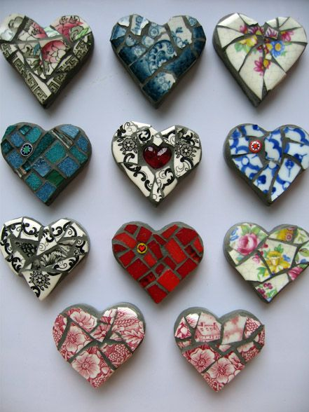 Sweet mosaic mini hearts. Just plaster of paris or craft cement in the ikea heart ice cube tray, and some broken plates, cups or mugs- Could get from charity shops. Cute around the garden or porch.