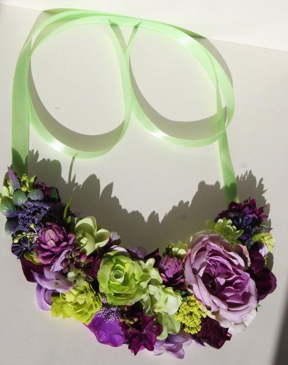 Joyas de flores púrpura y verde gran flores de novia por LaCrown