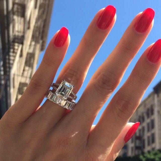 4.77 center stone, emerald cut diamond ring. 7.80 carat emerald cut wedding band. By Mark Broumand.