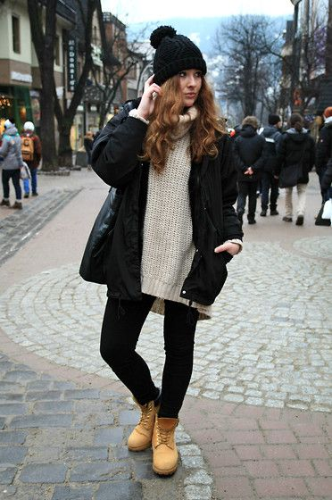 Pull & Bear Jacket, H&M Sweater, Timberland Boots
