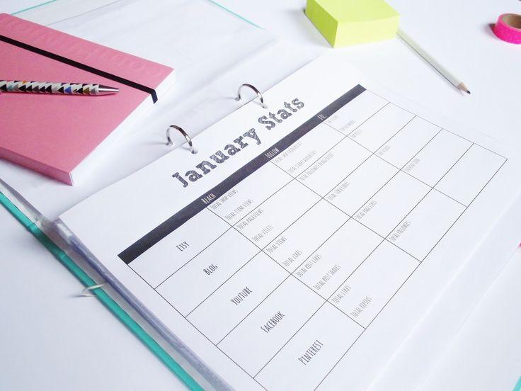 Blog Planner (Editorial Calendar) Free Printables Analytics/Statistics Chart