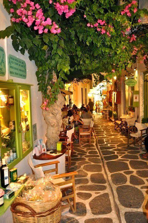 Narrow Street, Paros Island, Greece: